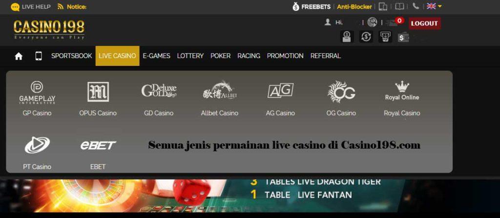 Jenis Penyedia permainan Live Casino