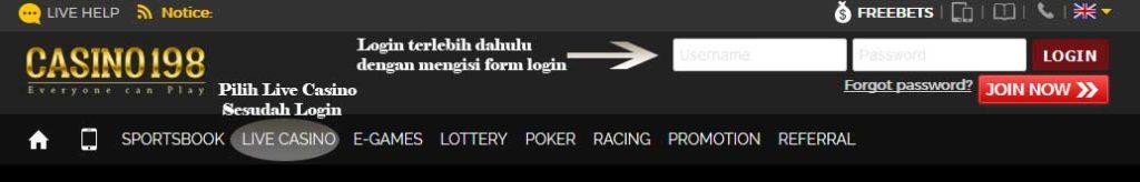 pilih permainan live casino untuk bermain baccarat